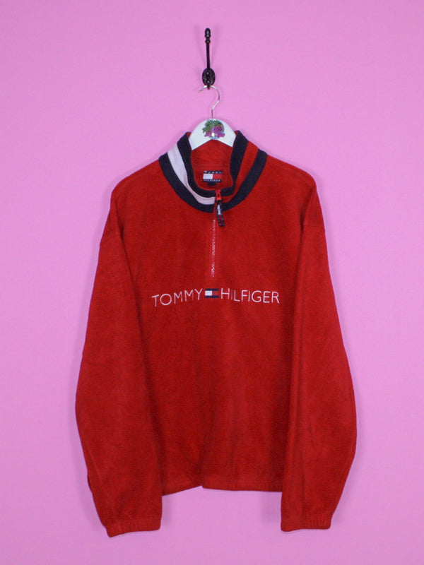 Red Tommy Hilfiger Spell Out Fleece XL - BB Vintage Clothing