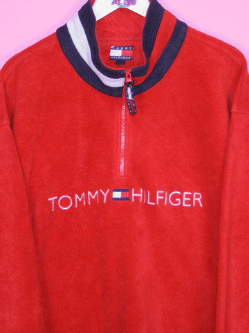Red Tommy Hilfiger Spell Out Fleece XL