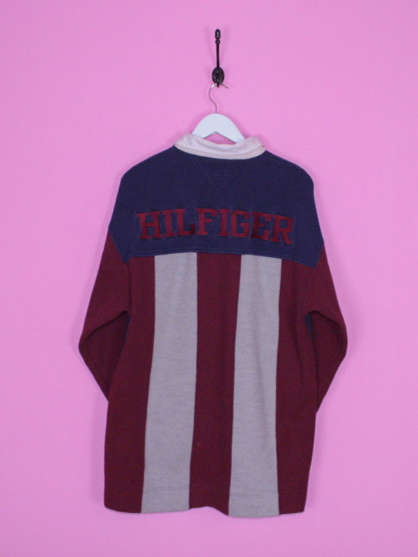 Navy Blue Tommy Hilfiger Athletics Rugby Shirt L - BB Vintage Clothing