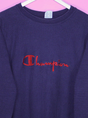 Navy Champion Reverse Weave Sweatshirt M - BB Vintage Clothing