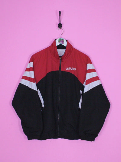 Black and Red Adidas Windbreaker Jacket L - BB Vintage Clothing