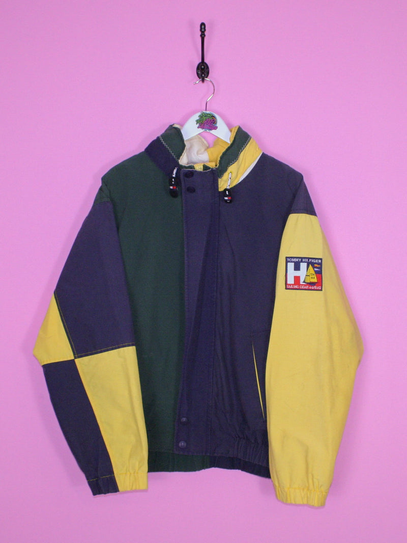 Green and Yellow Tommy Hilfiger Sailing Gear Jacket L - BB Vintage Clothing