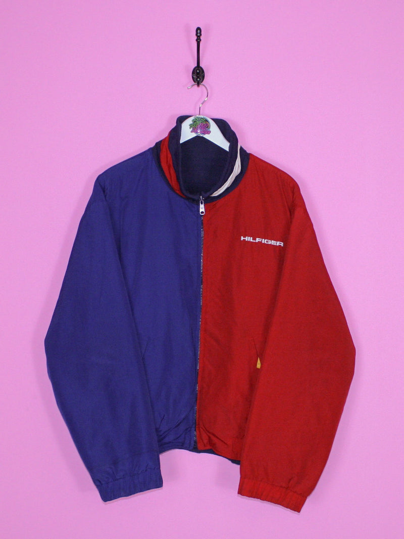 Red and Blue Tommy Hilfiger Fleece-Lined Reversible Jacket L - BB Vintage Clothing
