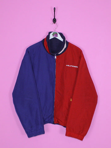 Red and Blue Tommy Hilfiger Fleece-Lined Reversible Jacket L