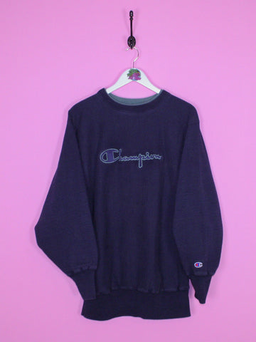 Navy Blue Champion Spell Out Reverse Weave Sweatshirt L