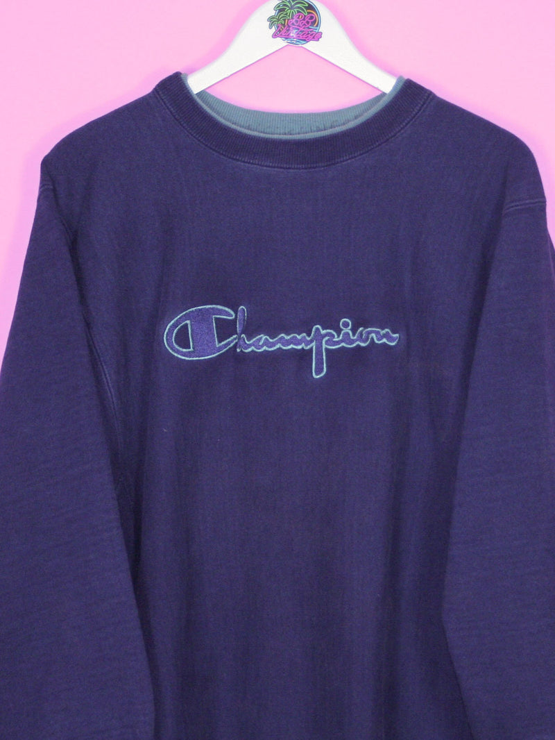 Navy Blue Champion Spell Out Reverse Weave Sweatshirt L - BB Vintage Clothing