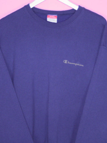 Navy Blue Champion Spell Out Sweatshirt M