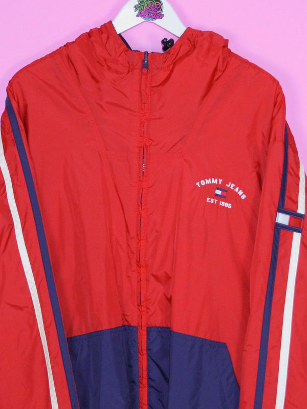 Red Tommy Hilfiger Jeans Fleece Lined Jacket XL - BB Vintage Clothing