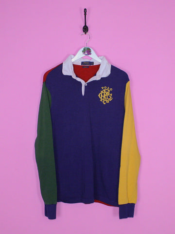 Navy Polo Ralph Lauren Colour Block Rugby Shirt L