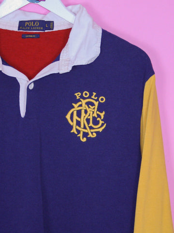 Navy Polo Ralph Lauren Colour Block Rugby Shirt L - BB Vintage Clothing