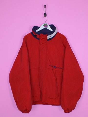 Red Tommy Hilfiger Spell Out Puffer Jacket XL - BB Vintage Clothing