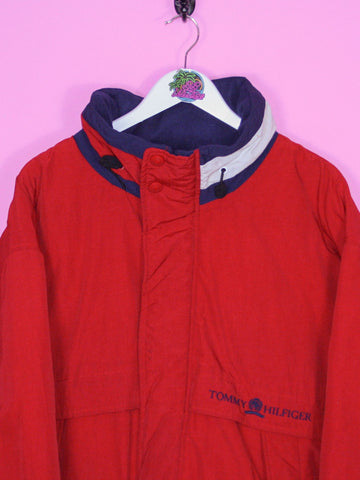 Red Tommy Hilfiger Spell Out Padded Jacket XL - BB Vintage Clothing