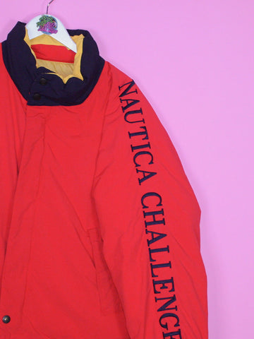 Red Nautica Challenge Spell Out Down Insulated Jacket M