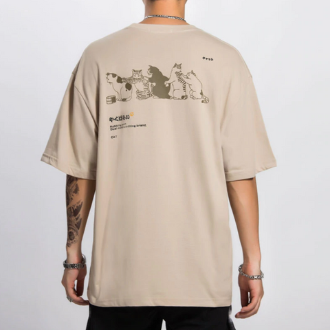 "Khaki ""Bathing Cats"" T Shirt M"