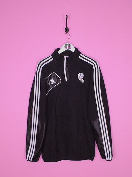 Black Adidas Bolton Wanderers 1/4 Zip Fleece L - BB Vintage Clothing