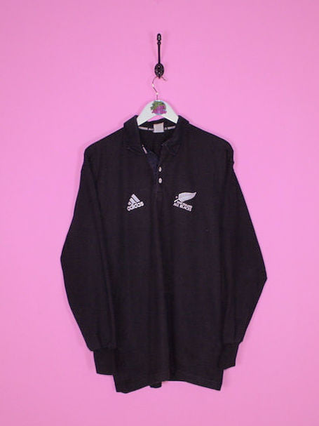 Black Adidas All Blacks Rugby Shirt M - BB Vintage Clothing