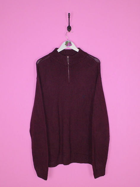 Burgandy Chaps 1/4 Zip Jumper M - BB Vintage Clothing