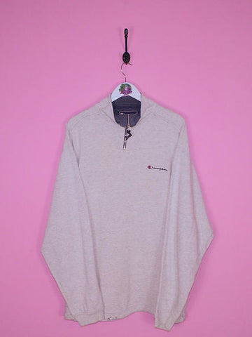 Grey Champion 1/4 Zip Sweatshirt XL