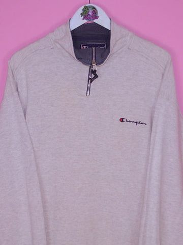 Grey Champion 1/4 Zip Sweatshirt XL - BB Vintage Clothing
