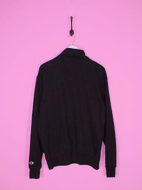 Black Champion 1/4 Zip Sweatshirt L - BB Vintage Clothing