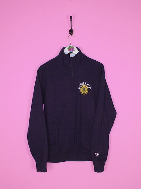 Navy Blue  Champion 1/4 Zip Sweatshirt S - BB Vintage Clothing
