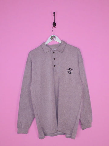 Grey Calvin Klein 1/4 Zip Sweatshirt XL - BB Vintage Clothing