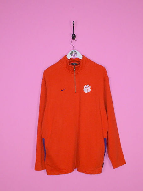 Orange Nike 1/4 Zip Sweatshirt L - BB Vintage Clothing