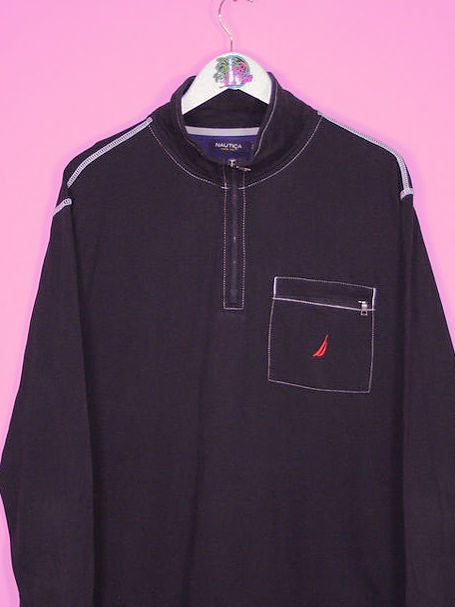 Black Nautica 1/4 Zip Sweatshirt L - BB Vintage Clothing