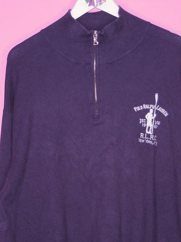 Navy Blue Ralph Lauren 1/4 Zip Sweatshirt XL - BB Vintage Clothing