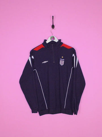 Navy Blue Umbro England Football 1/4 Zip Sweatshirt S