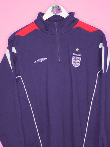 Navy Blue Umbro England Football 1/4 Zip Sweatshirt S - BB Vintage Clothing