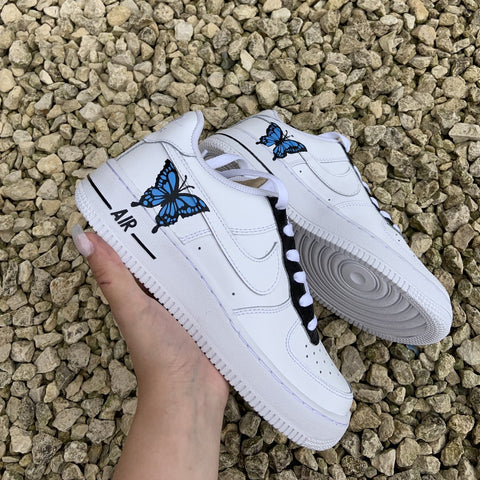 "Custom Nike Air Force 1 ""Blue & Black Butterfly"""