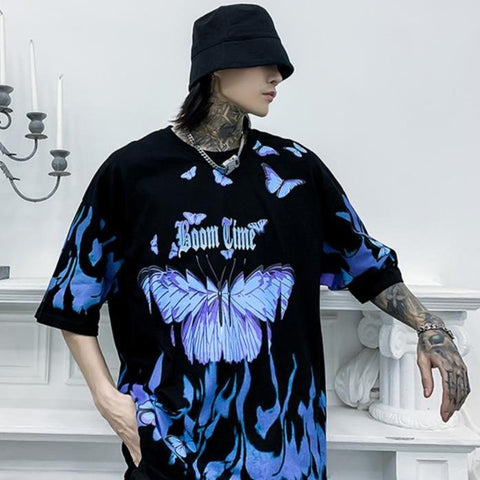 "Black ""Boom Time"" Butterfly Print T Shirt"