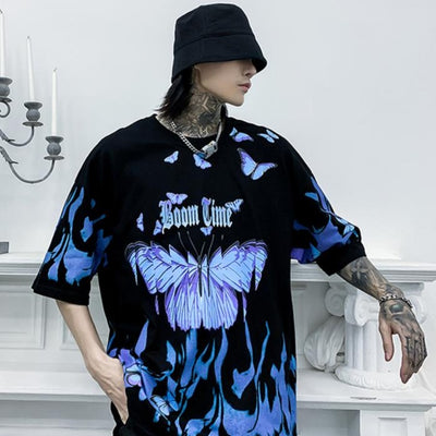 """Boom Time"" Butterfly Print T Shirt - BB Vintage Clothing"