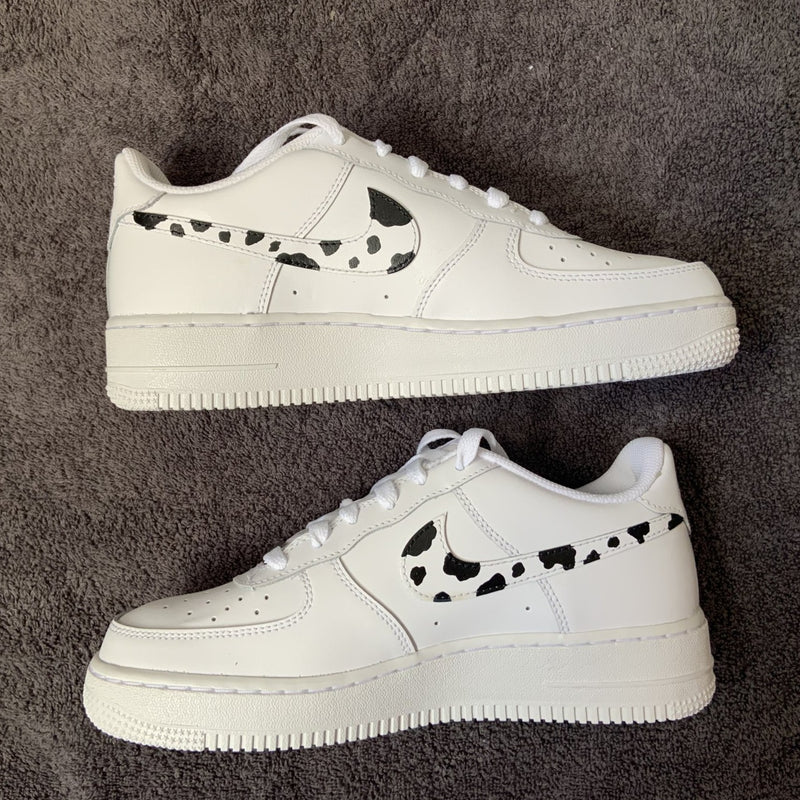 "Custom Nike Air Force 1 ""Cow Print Swoosh"""