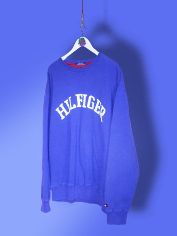 Blue Tommy Hilfiger Spell Out Sweatshirt L - BB Vintage Clothing