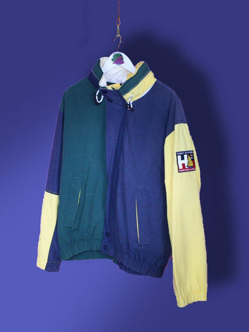 Green and Yellow Tommy Hilfiger Sailing Gear Jacket L
