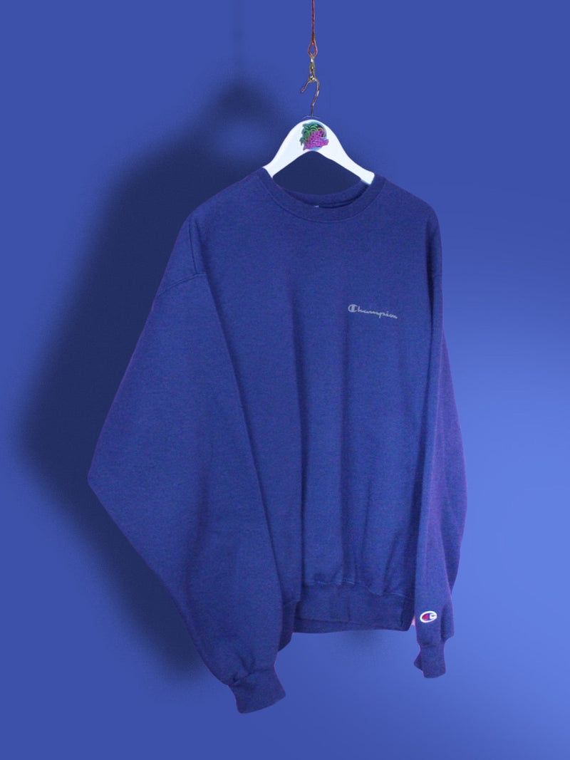 Navy Blue Champion Spell Out Sweatshirt M - BB Vintage Clothing