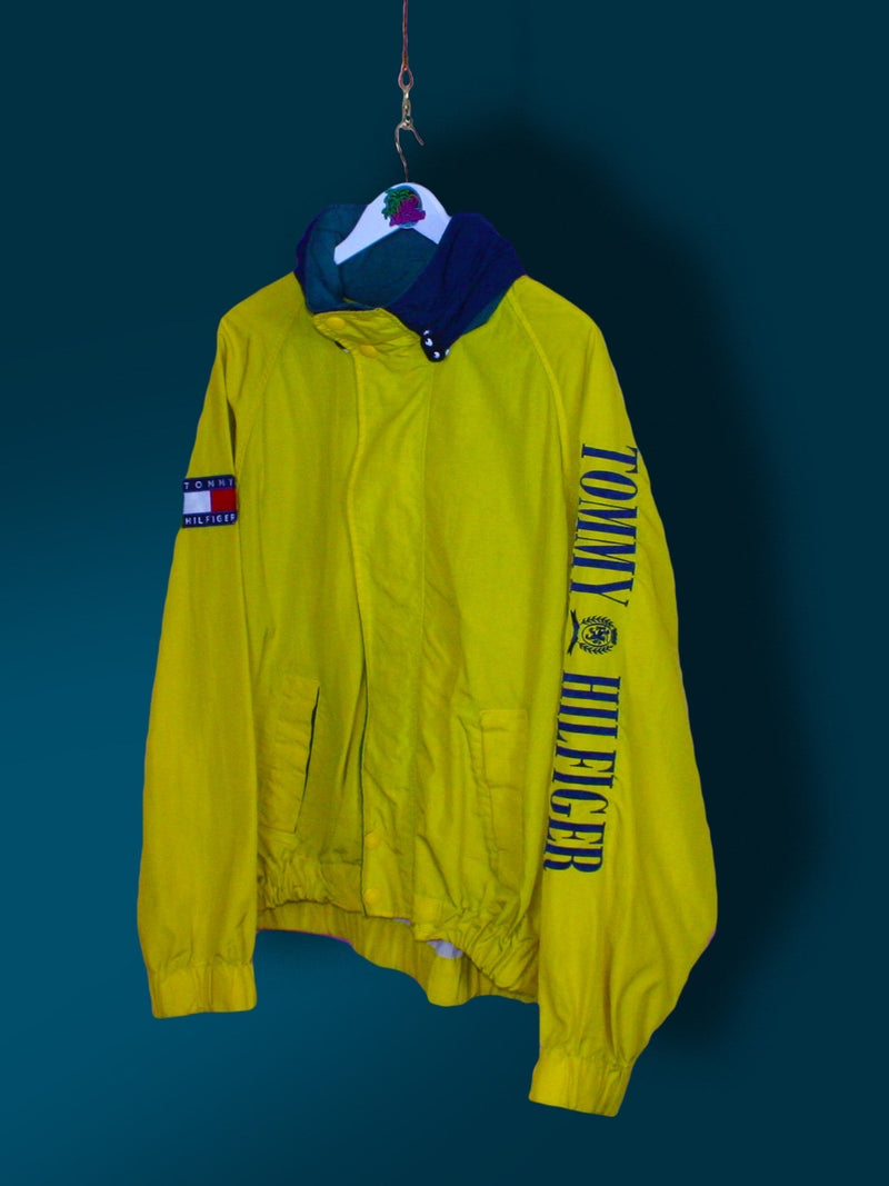 Yellow Tommy Hilfiger Spell Out Jacket XL - BB Vintage Clothing