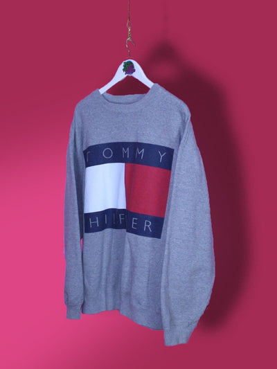 Grey Tommy Hilfiger Flag Sweatshirt L - BB Vintage Clothing
