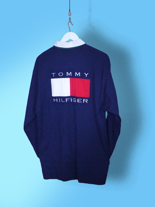 Navy Tommy Hilfiger Flag Rugby Shirt L - BB Vintage Clothing