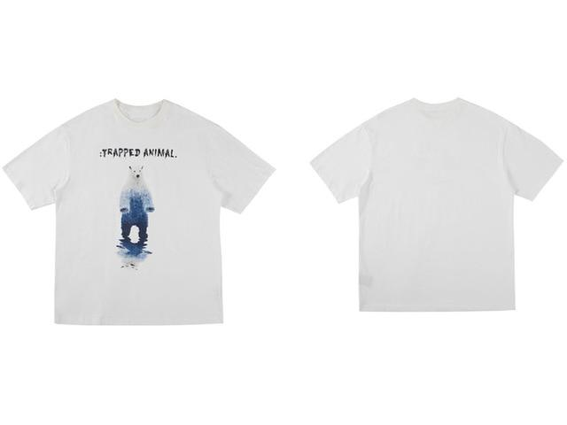 "White ""Trapped Animal"" T Shirt S"