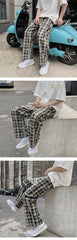 "Black/Blue ""Oversized Plaid"" Trousers S"