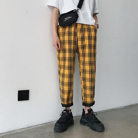 "Yellow ""Street-Style"" Plaid Trousers XL"