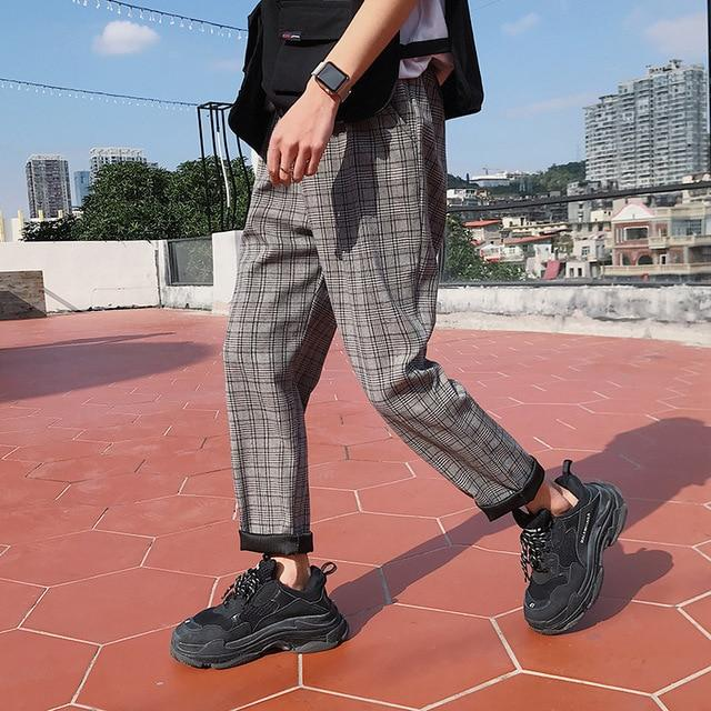"Light Grey ""Street-Style"" Plaid Trousers XS"
