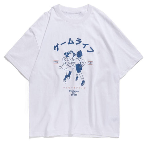 "White ""Dancing Kids"" T Shirt S"