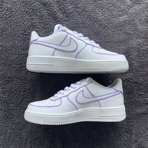 "Custom Nike Air Force 1 ""Purple Outline"""