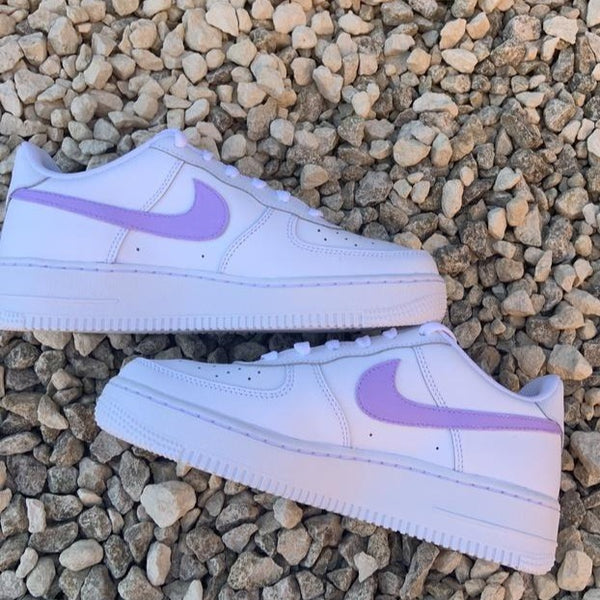 "Custom Nike Air Force 1 ""Purple Swoosh"""