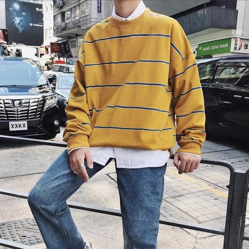 Yellow Oversized Striped Sweatshirt Large - BB Vintage Clothing