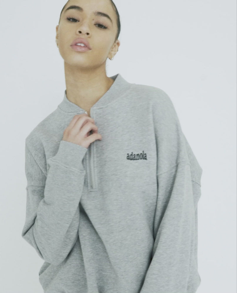 Load and play video in Gallery viewer, Oversized Half Zip Sweatshirt - Heather Grey